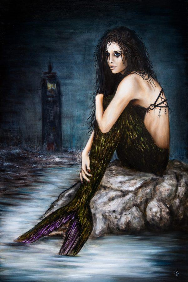 Mermaid oil painting by Justin Gedak