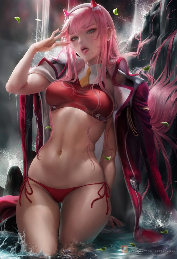 Zero Two (Darling in the Franxx) by #Sakimichan